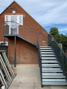 External metal staircase